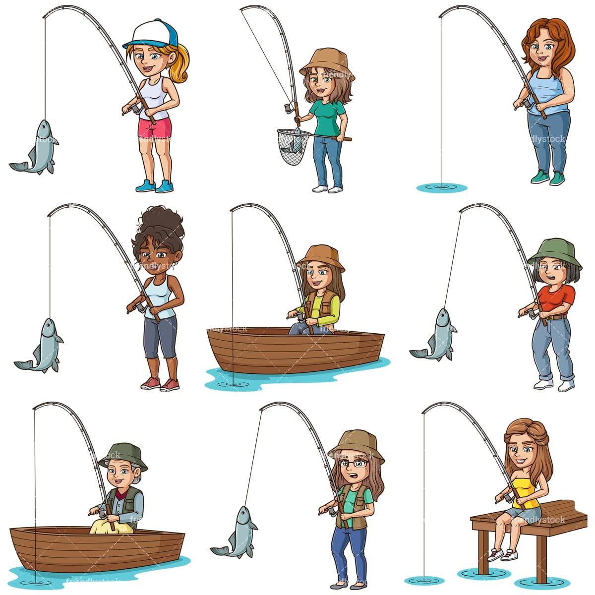 Cartoon Women Fishing Clipart Vector Friendlystock