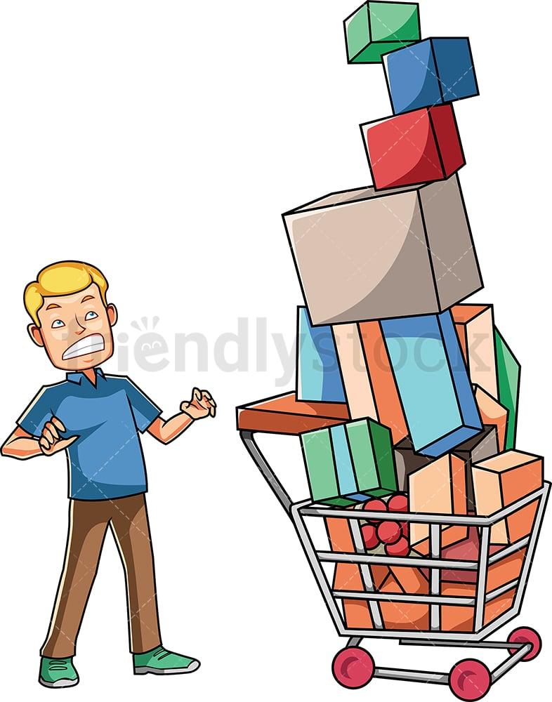 Vector Illustration Man Carrying Shopping Cart Stock Vector (Royalty Free)  1311820490