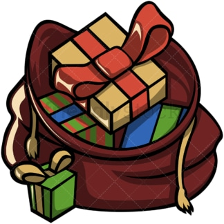 Open santa's sack with christmas gifts. PNG - JPG and vector EPS file formats (infinitely scalable). Image isolated on transparent background.