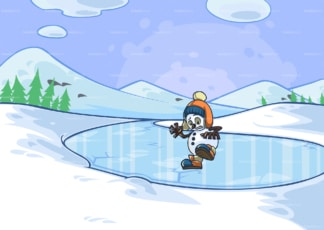 Snowman slipping on ice while crossing a frozen lake. PNG - JPG and vector EPS file formats (infinitely scalable). Image isolated on transparent background.