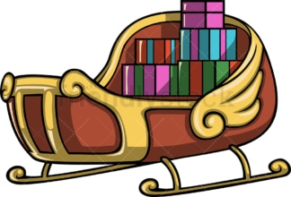 Santa's sleigh with christmas presents. PNG - JPG and vector EPS file formats (infinitely scalable). Image isolated on transparent background.