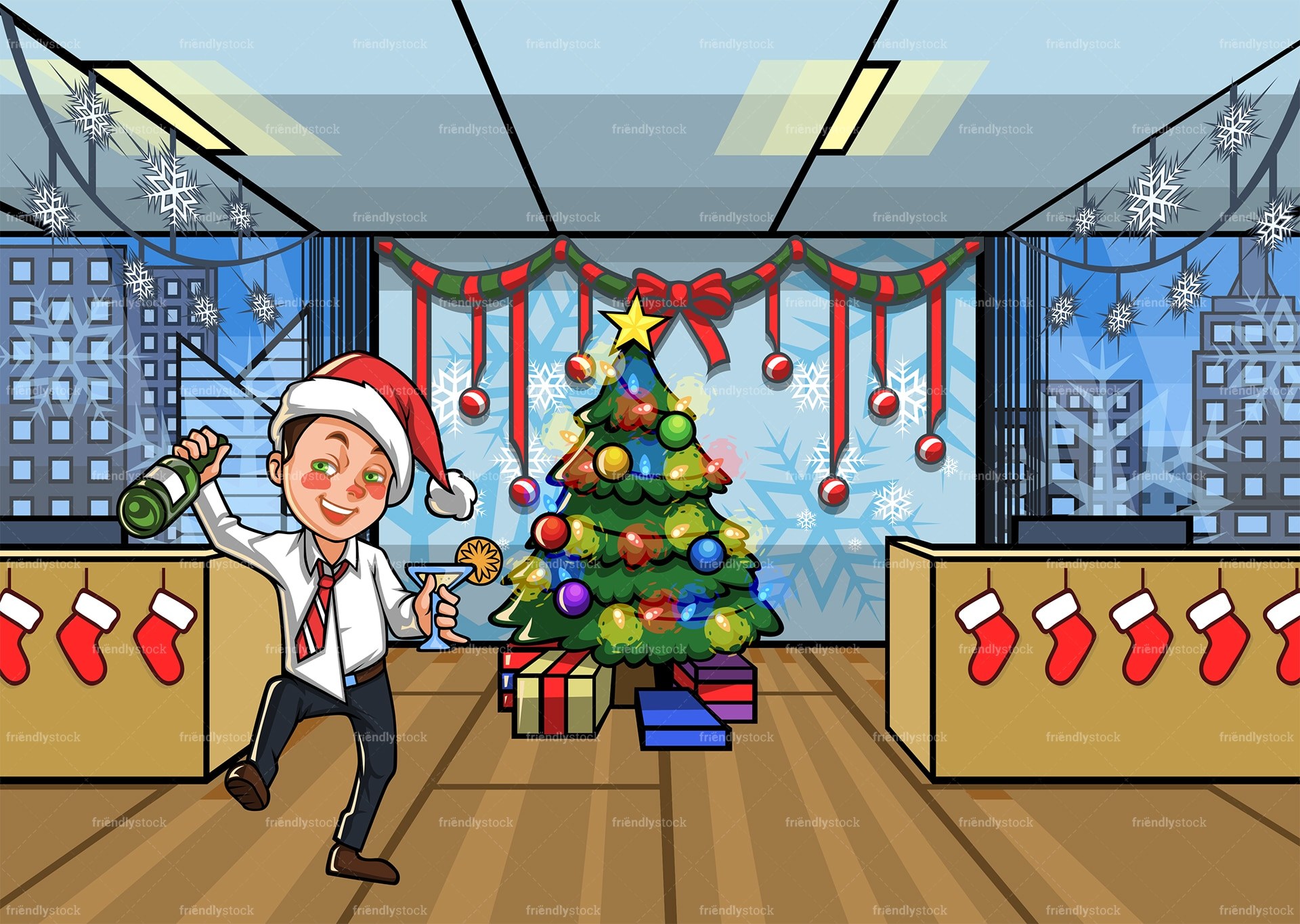 Man Who Got Drunk At The Office Christmas Party Cartoon Scene Friendlystock