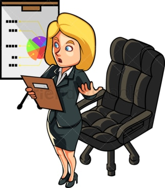 Blonde woman giving a presentation. PNG - JPG and vector EPS file formats (infinitely scalable). Image isolated on transparent background.