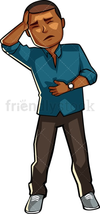Black man feeling ill. PNG - JPG and vector EPS file formats (infinitely scalable). Image isolated on transparent background.