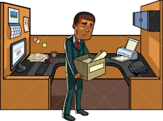 Black man leaving his cubicle after getting fired. PNG - JPG and vector EPS file formats (infinitely scalable). Image isolated on transparent background.