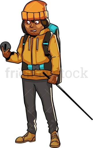 Black woman in hiking gear looking at compass. PNG - JPG and vector EPS file formats (infinitely scalable). Image isolated on transparent background.