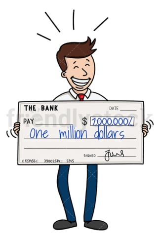 Businessman holding million dollar check. PNG - JPG and vector EPS (infinitely scalable).