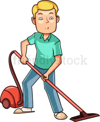 Man using canister vacuum cleaner. PNG - JPG and vector EPS file formats (infinitely scalable). Image isolated on transparent background.
