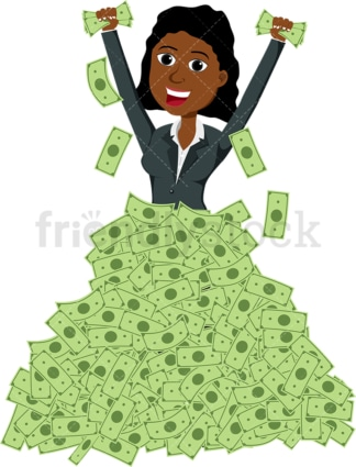 Poised black woman in huge pile of cash. PNG - JPG and vector EPS file formats (infinitely scalable). Image isolated on transparent background.