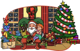 Children on santa's lap in living room. PNG - JPG and vector EPS file formats (infinitely scalable). Image isolated on transparent background.