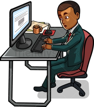 Black male employee working on computer. PNG - JPG and vector EPS file formats (infinitely scalable). Image isolated on transparent background.