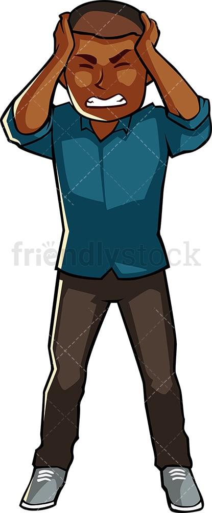 Black Man Suffering Headache Cartoon Vector Clipart Friendlystock