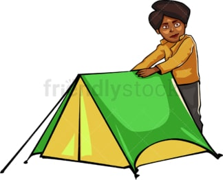 Black woman near tent while camping outdoors. PNG - JPG and vector EPS file formats (infinitely scalable). Image isolated on transparent background.