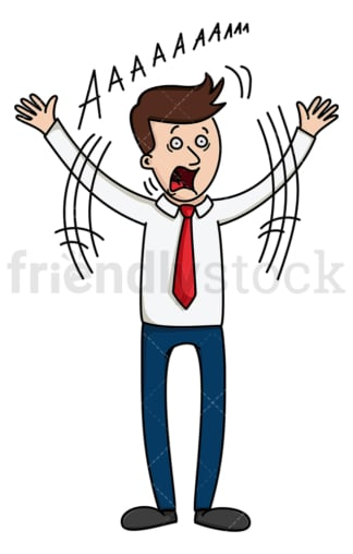 Businessman screaming and waving his arms. PNG - JPG and vector EPS file formats (infinitely scalable). Image isolated on transparent background.