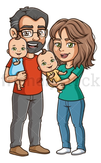 Parents with twin babies. PNG - JPG and vector EPS (infinitely scalable).