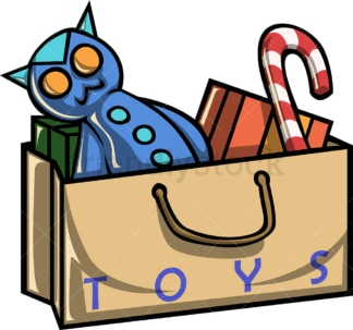 Shopping bag full of toys and candy. PNG - JPG and vector EPS file formats (infinitely scalable). Image isolated on transparent background.