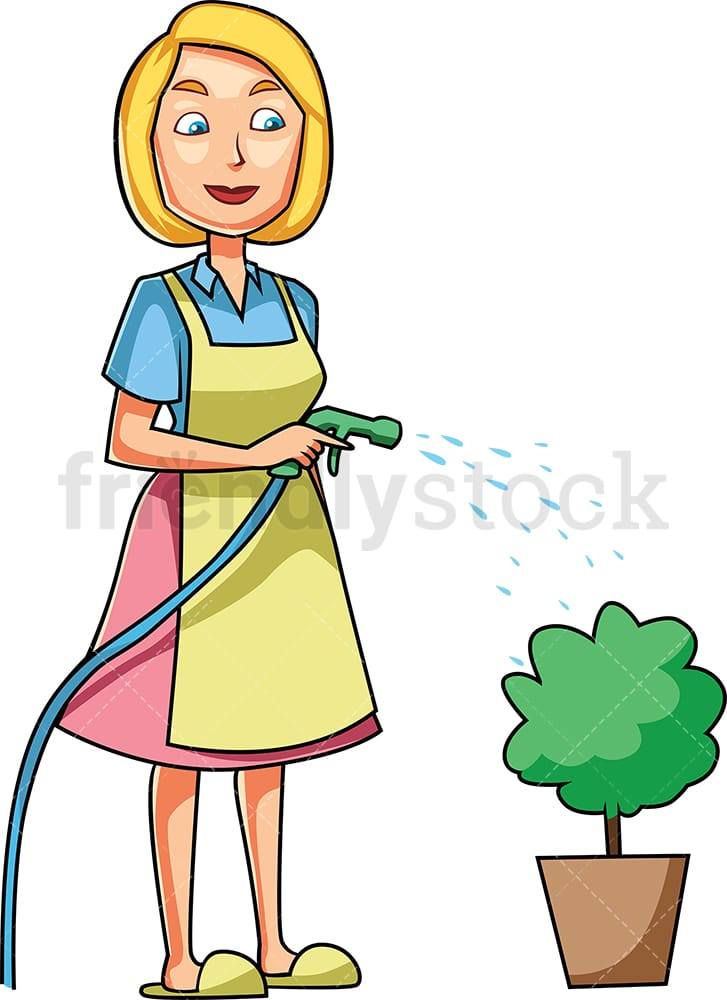 Girl Watering A Flower In The Garden Royalty Free Cliparts, Vectors, And  Stock Illustration. Image 16511314.