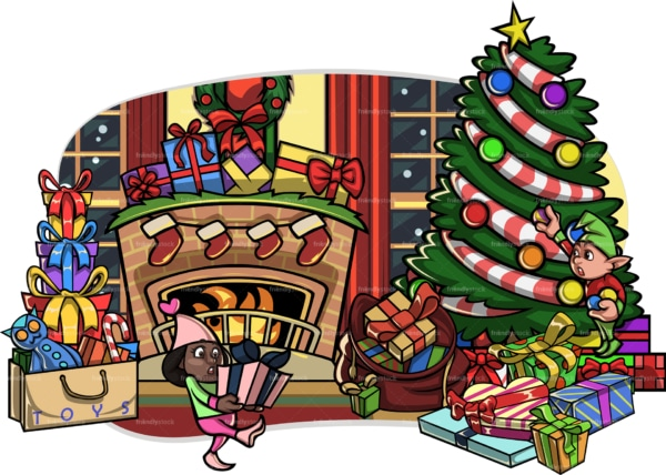 Black elf placing present under christmas tree. PNG - JPG and vector EPS file formats (infinitely scalable). Image isolated on transparent background.