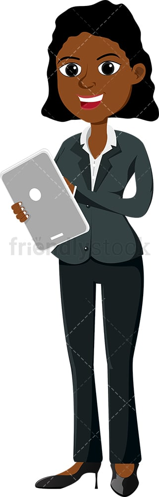 Black businesswoman using modern tablet. PNG - JPG and vector EPS file formats (infinitely scalable). Image isolated on transparent background.