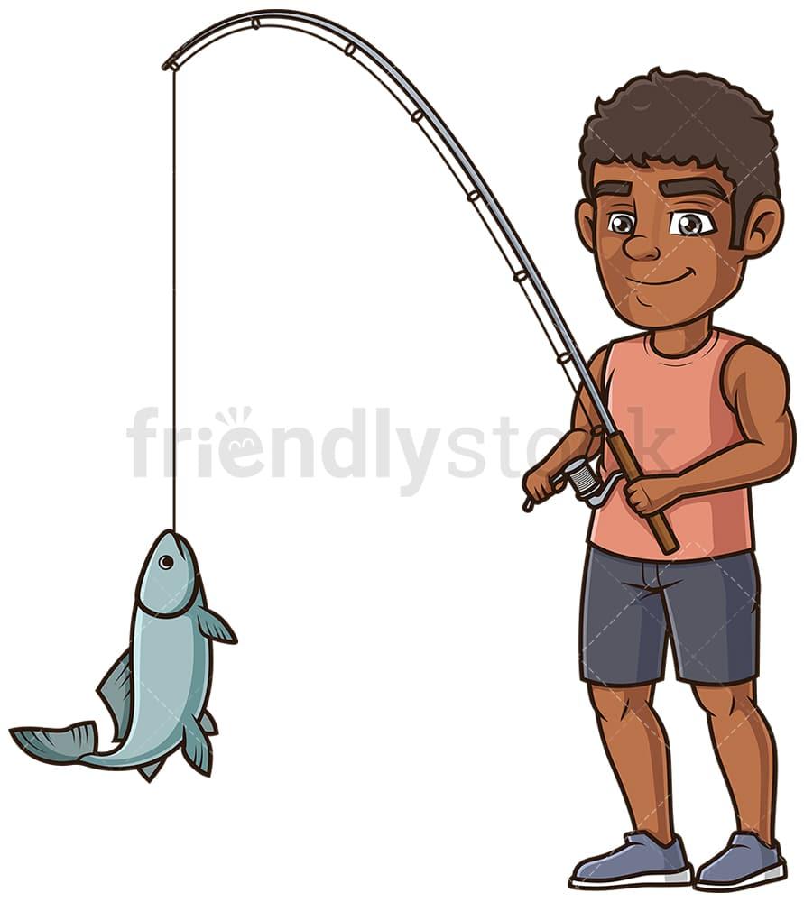 Black Man Fishing Cartoon Clipart Vector Friendlystock