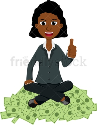 Black woman giving the thumbs up atop pile of cash. PNG - JPG and vector EPS file formats (infinitely scalable). Image isolated on transparent background.