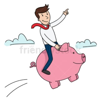 Businessman riding piggy bank. PNG - JPG and vector EPS (infinitely scalable).