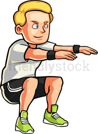 Caucasian man doing squats. PNG - JPG and vector EPS file formats (infinitely scalable). Image isolated on transparent background.