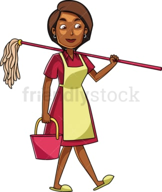 Black woman carrying a mop. PNG - JPG and vector EPS file formats (infinitely scalable). Image isolated on transparent background.
