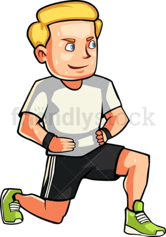 Caucasian man doing lunges. PNG - JPG and vector EPS file formats (infinitely scalable). Image isolated on transparent background.