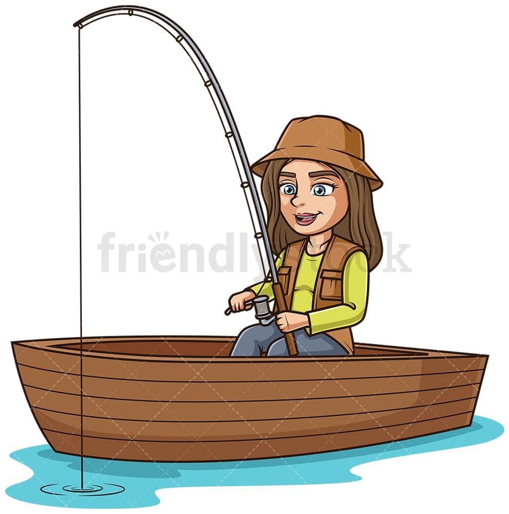 Girl In A Boat Fishing Cartoon Clipart Vector Friendlystock