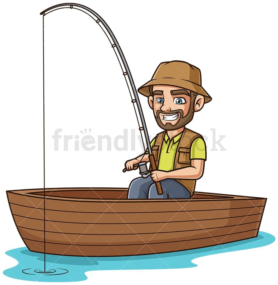 Guy On A Boat Fishing Cartoon Clipart Vector Friendlystock