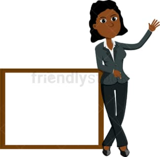 Black businesswoman standing near presentation board. PNG - JPG and vector EPS file formats (infinitely scalable). Image isolated on transparent background.