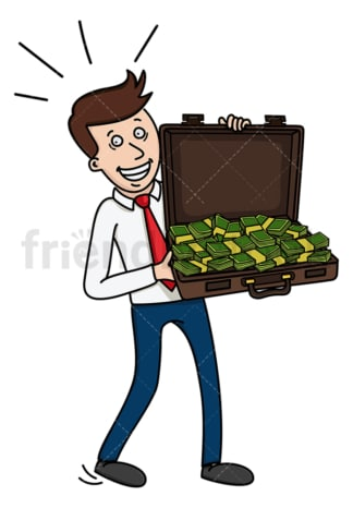 Businessman with briefcase full of money. PNG - JPG and vector EPS (infinitely scalable).