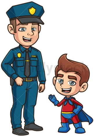 Superhero kid talking to police officer. PNG - JPG and vector EPS (infinitely scalable).