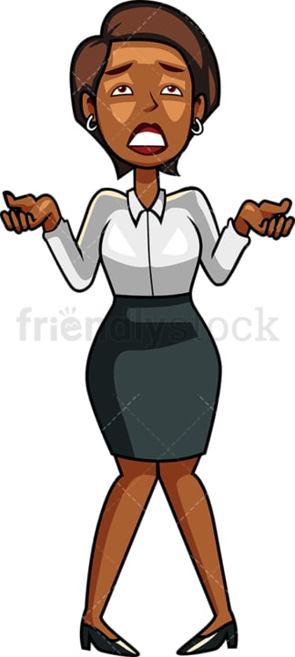 Anguished black businesswoman. PNG - JPG and vector EPS file formats (infinitely scalable). Image isolated on transparent background.