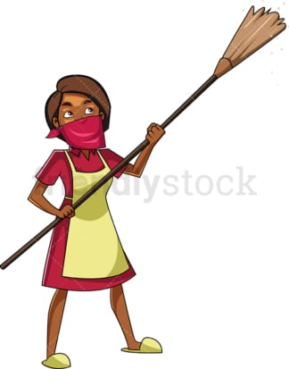 Black woman dusting. PNG - JPG and vector EPS file formats (infinitely scalable). Image isolated on transparent background.