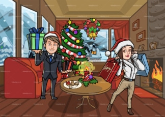 Happy couple in their house after christmas shopping. PNG - JPG and vector EPS file formats (infinitely scalable). Image isolated on transparent background.