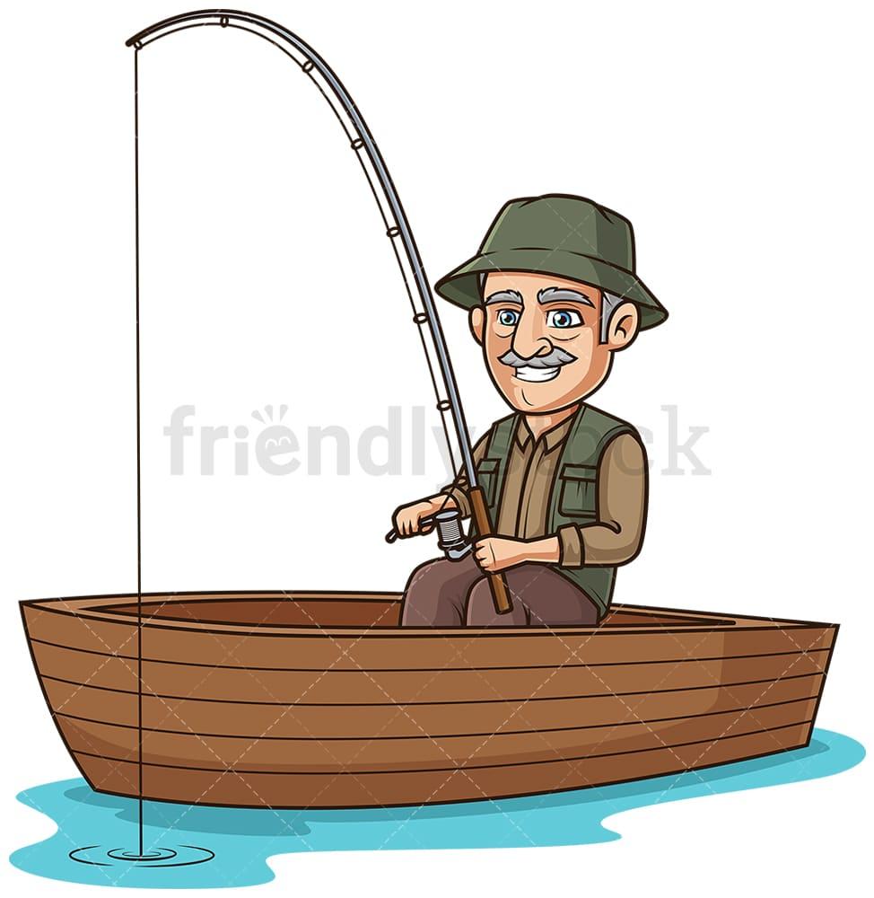 Old Man In A Boat Fishing Cartoon Clipart Vector Friendlystock