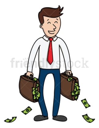 Successful businessman with money. PNG - JPG and vector EPS (infinitely scalable).