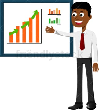 Black businessman pointing to an upwards trending chart. PNG - JPG and vector EPS file formats (infinitely scalable). Image isolated on transparent background.