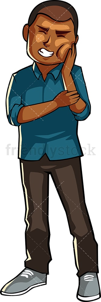 Black man with toothache. PNG - JPG and vector EPS file formats (infinitely scalable). Image isolated on transparent background.