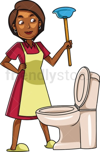 Black woman about to use plunger. PNG - JPG and vector EPS file formats (infinitely scalable). Image isolated on transparent background.