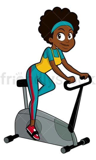 Black woman on stationary bike. PNG - JPG and vector EPS file formats (infinitely scalable). Image isolated on transparent background.