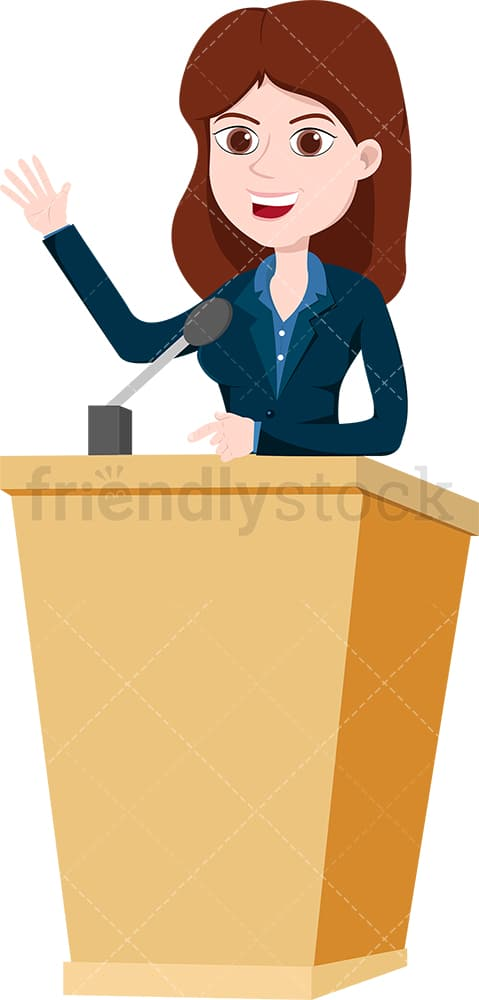 Woman On Podium Public Speaking With Confidence Vector Clipart Friendlystock