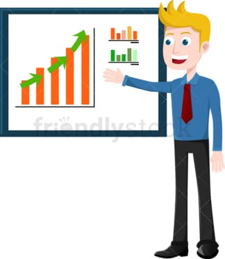 Businessman reviewing kpis on presentation board. PNG - JPG and vector EPS file formats (infinitely scalable). Image isolated on transparent background.