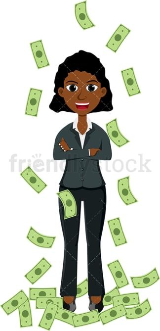 Poised black woman standing around money. PNG - JPG and vector EPS file formats (infinitely scalable). Image isolated on transparent background.