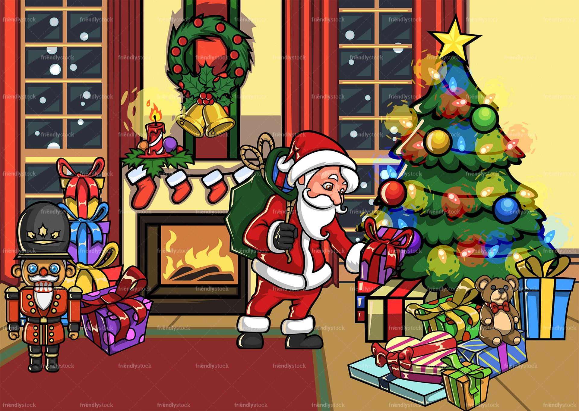 Santa Claus In A House During Christmas Cartoon Scene Friendlystock