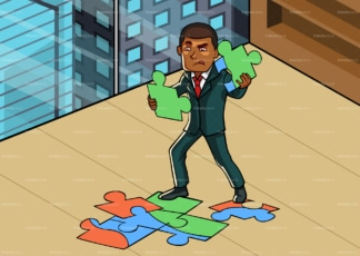 Black business at office connecting jigsaw puzzle. PNG - JPG and vector EPS file formats (infinitely scalable). Image isolated on transparent background.