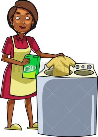 Black woman doing the laundry. PNG - JPG and vector EPS file formats (infinitely scalable). Image isolated on transparent background.