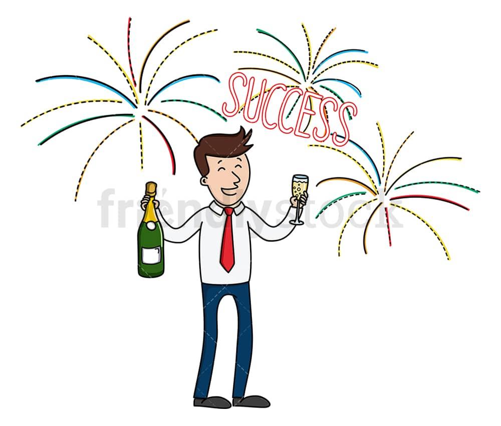 businessman commemorating a success cartoon clipart vector friendlystock businessman commemorating a success cartoon clipart vector friendlystock